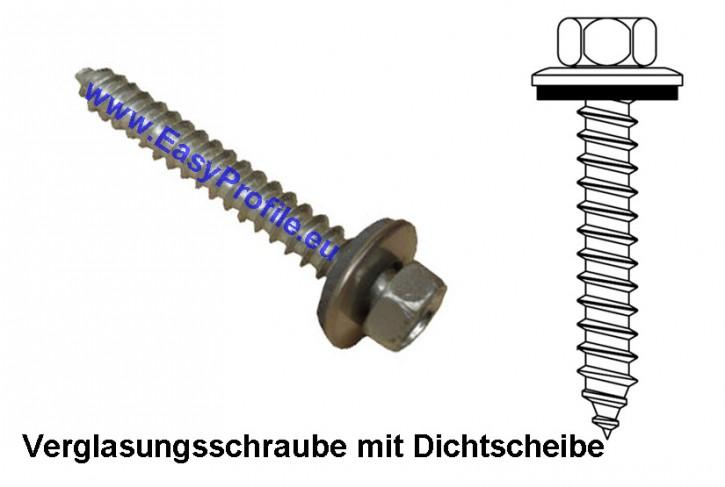 Edelstahlschraube VA 6,5x90 mit Dichtscheibe