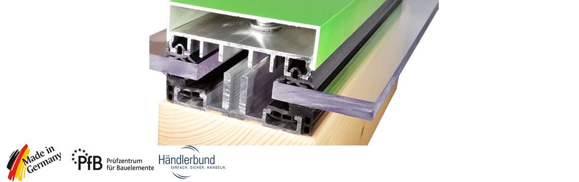 Verlegeprofile Premium für flache Glasdächer
