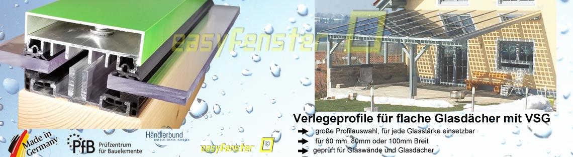Verlegeprofile für VSG Glas